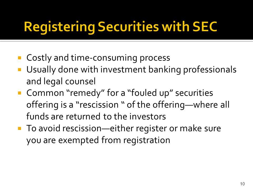Registering Securities with SEC