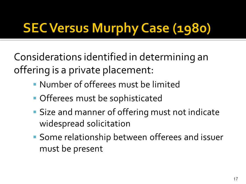 SEC Versus Murphy Case (1980)