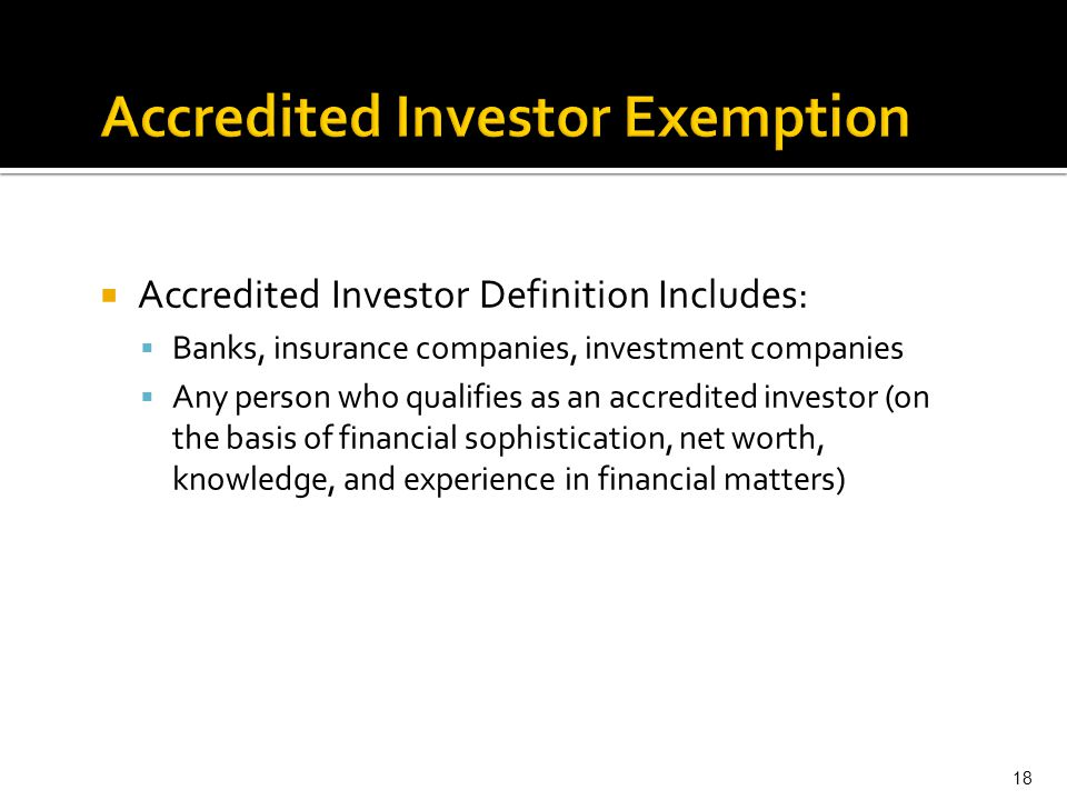Accredited Investor Exemption