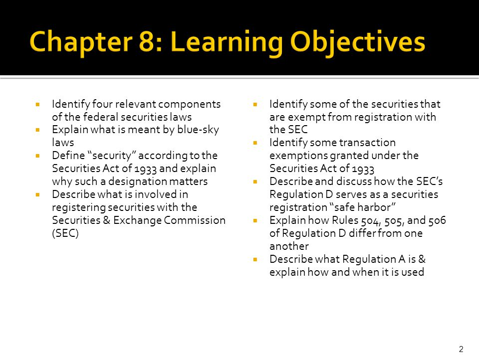 Chapter 8: Learning Objectives