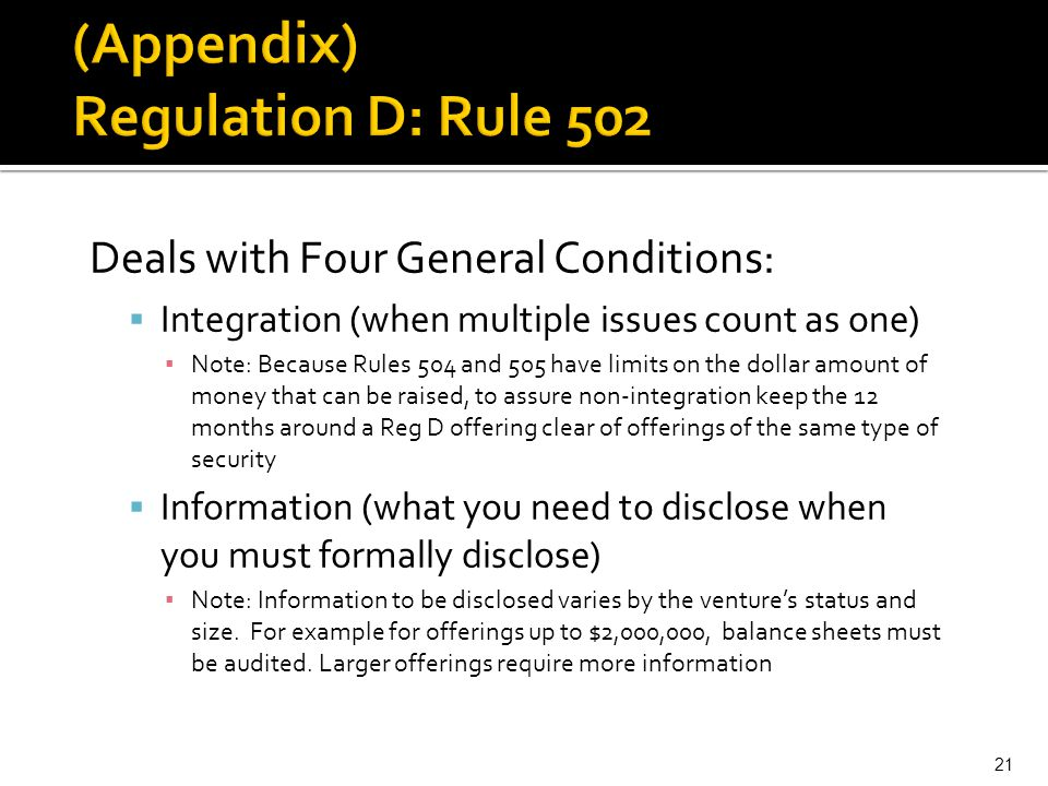 (Appendix) Regulation D: Rule 502