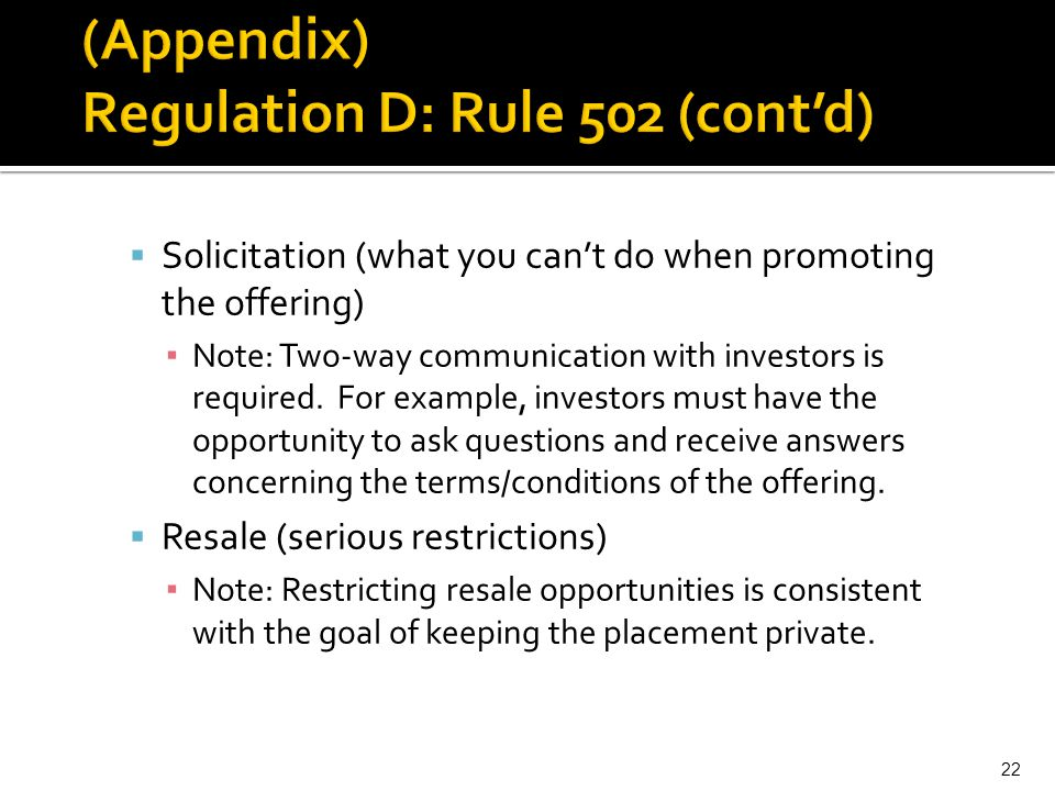 (Appendix) Regulation D: Rule 502 (cont'd)
