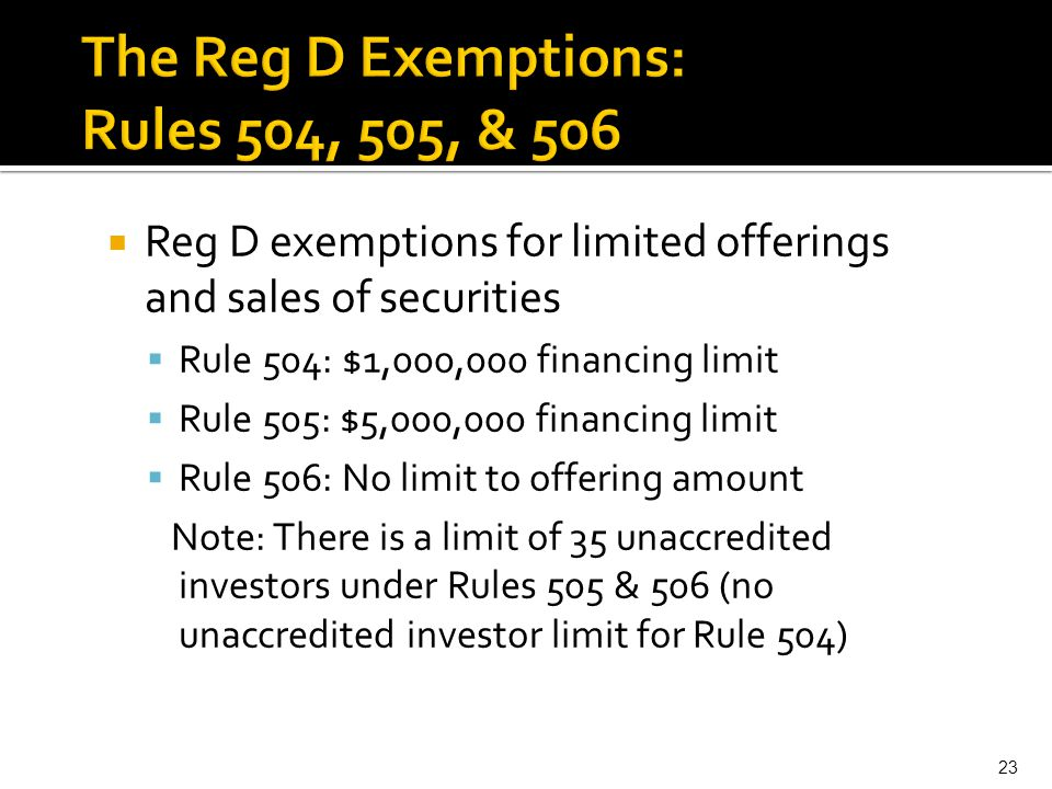The Reg D Exemptions: Rules 504, 505, & 506