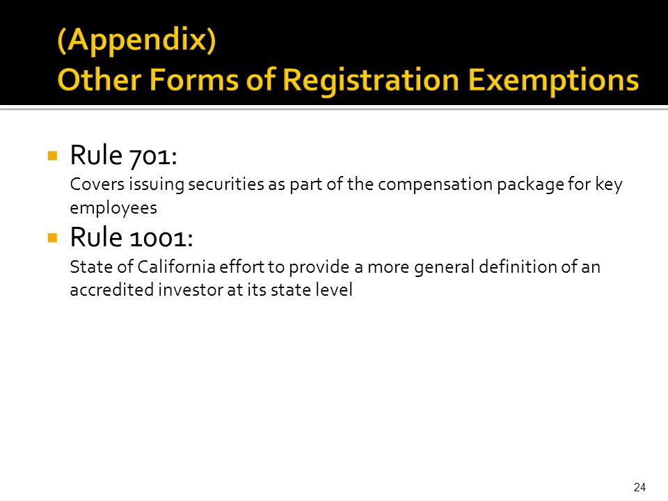 (Appendix) Other Forms of Registration Exemptions