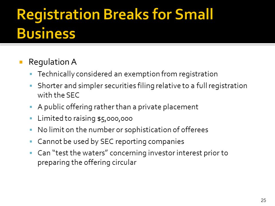 Registration Breaks for Small Business