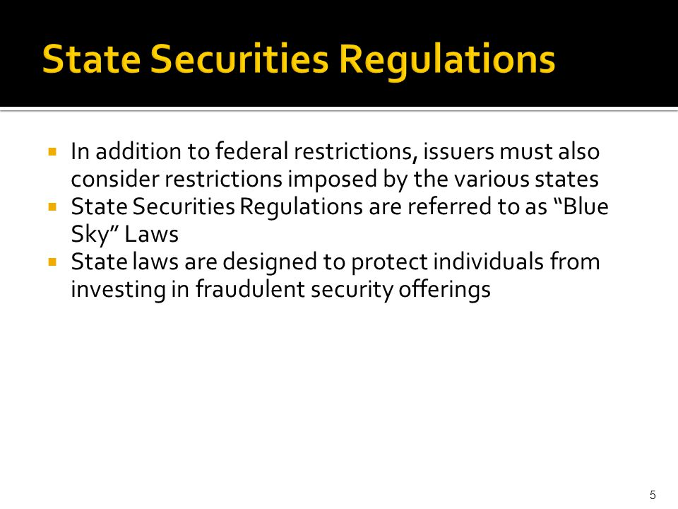 State Securities Regulations