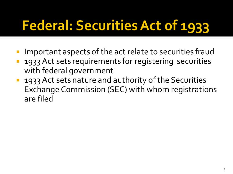 Federal: Securities Act of 1933