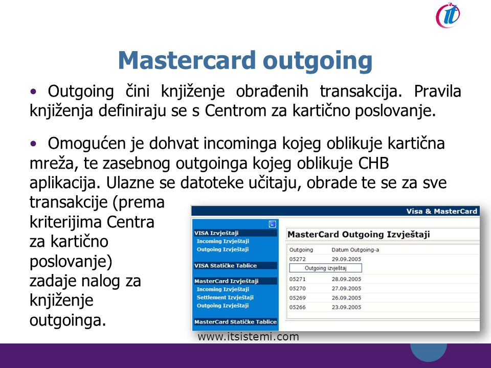 Mastercard outgoing Outgoing čini knjiženje obrađenih transakcija. Pravila knjiženja definiraju se s Centrom za kartično poslovanje.