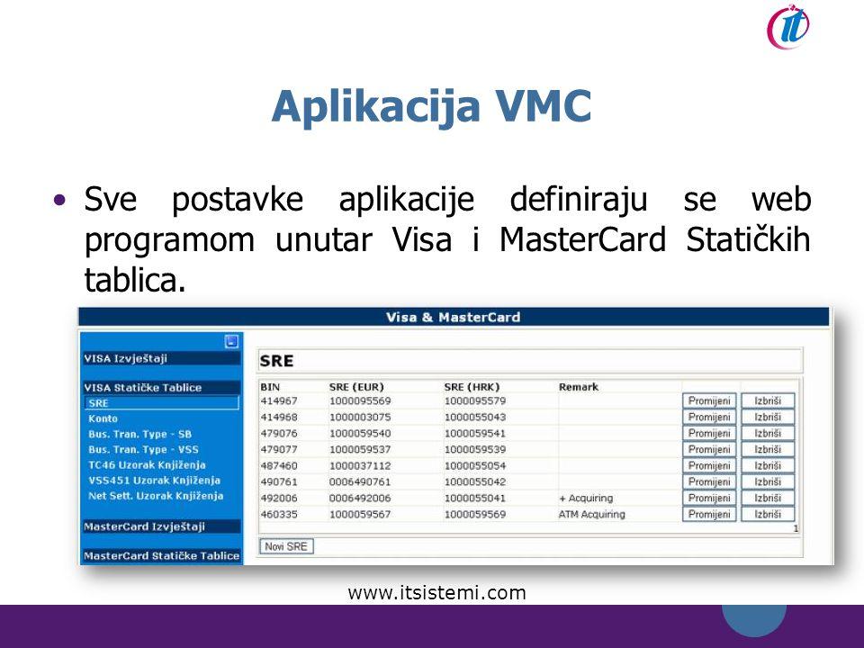 Aplikacija VMC Sve postavke aplikacije definiraju se web programom unutar Visa i MasterCard Statičkih tablica.
