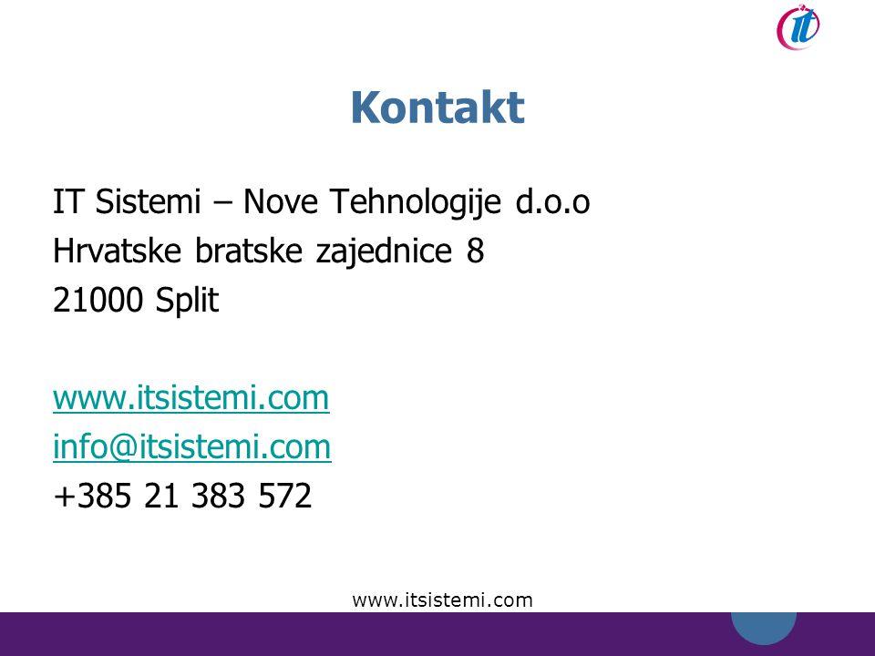 Kontakt IT Sistemi – Nove Tehnologije d.o.o Hrvatske bratske zajednice 8 21000 Split www.itsistemi.com info@itsistemi.com +385 21 383 572