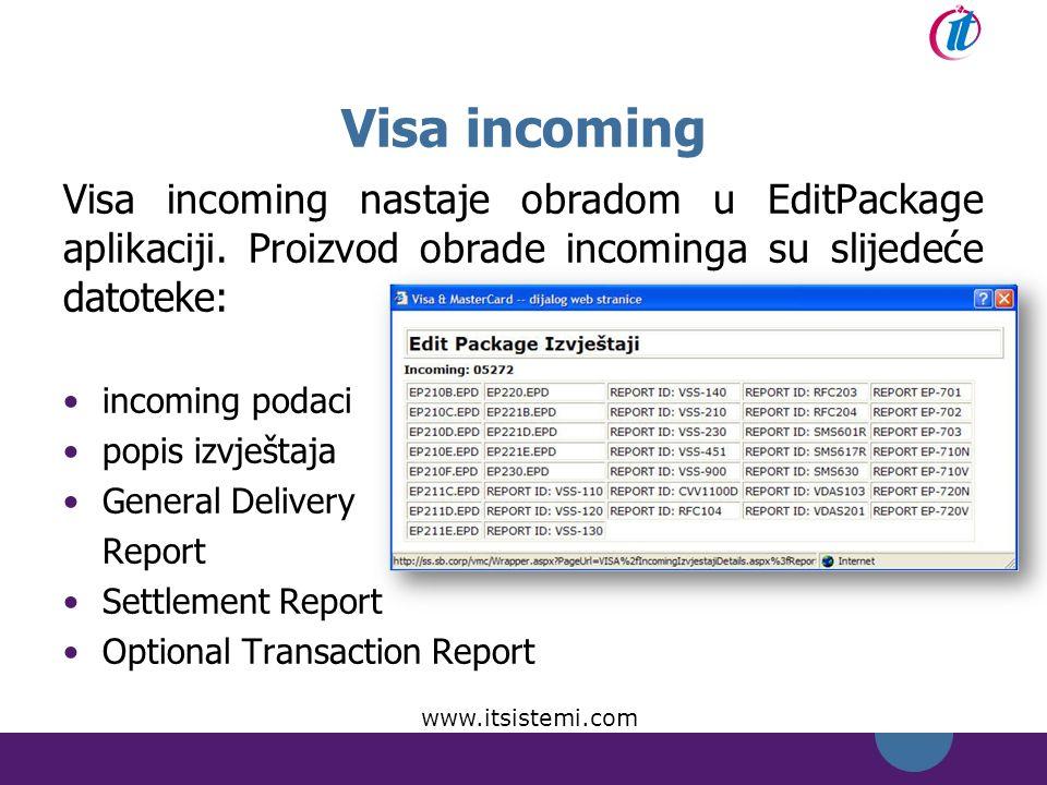Visa incoming Visa incoming nastaje obradom u EditPackage aplikaciji. Proizvod obrade incominga su slijedeće datoteke: