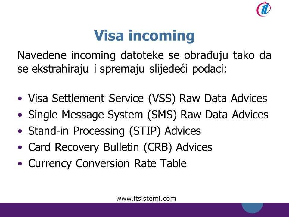 Visa incoming Navedene incoming datoteke se obrađuju tako da se ekstrahiraju i spremaju slijedeći podaci: