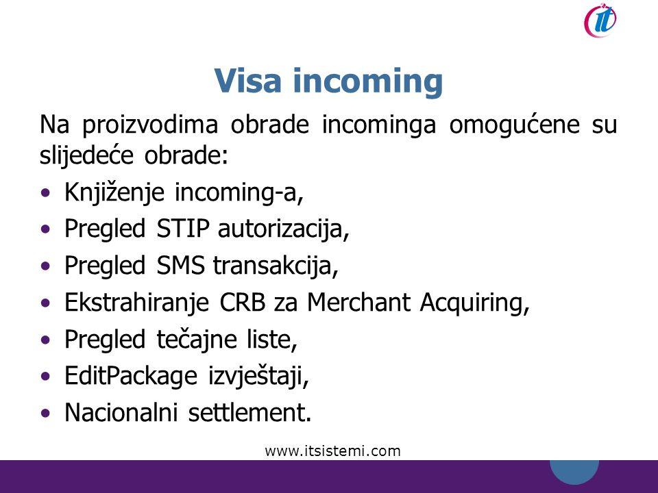 Visa incoming Na proizvodima obrade incominga omogućene su slijedeće obrade: Knjiženje incoming-a,