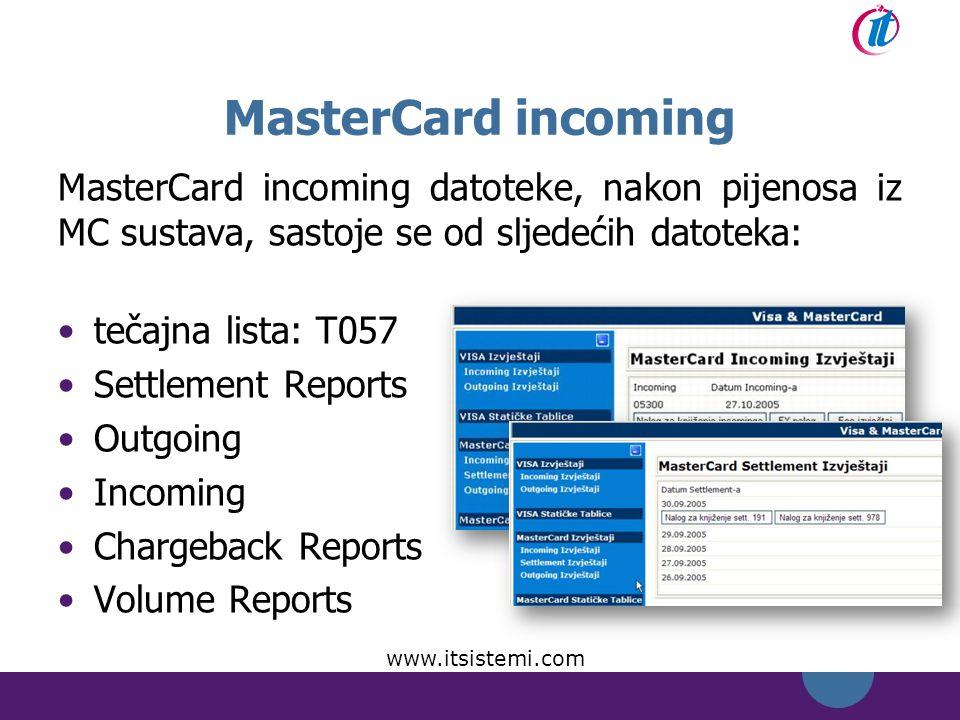 MasterCard incoming MasterCard incoming datoteke, nakon pijenosa iz MC sustava, sastoje se od sljedećih datoteka: