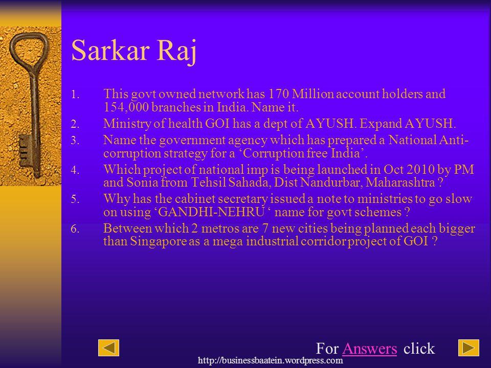 Sarkar Raj For Answers click