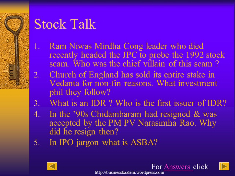Stock Talk Ram Niwas Mirdha Cong leader who died recently headed the JPC to probe the 1992 stock scam. Who was the chief villain of this scam