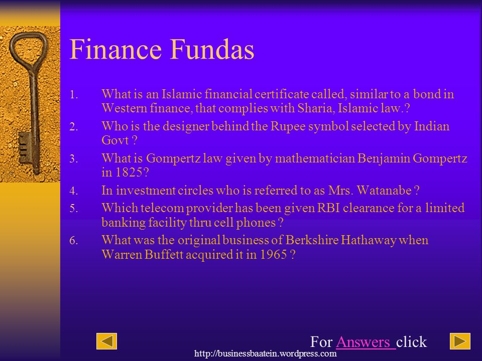 Finance Fundas For Answers click