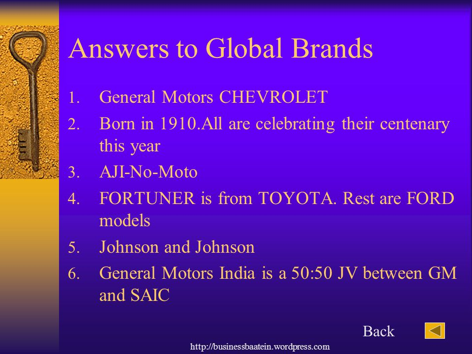 Answers to Global Brands