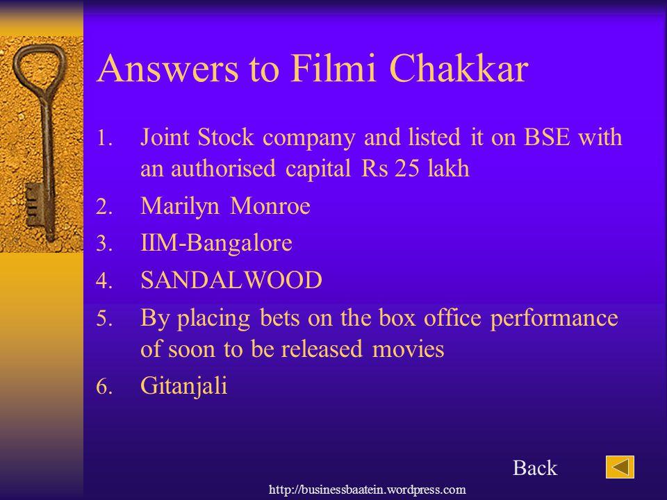 Answers to Filmi Chakkar