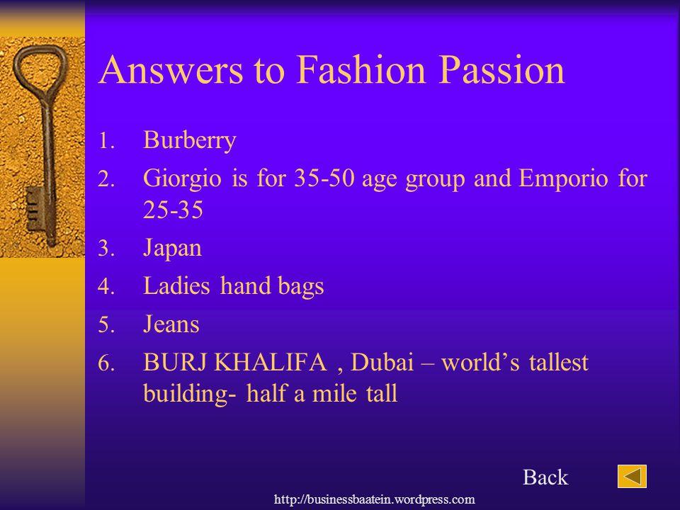 Answers to Fashion Passion