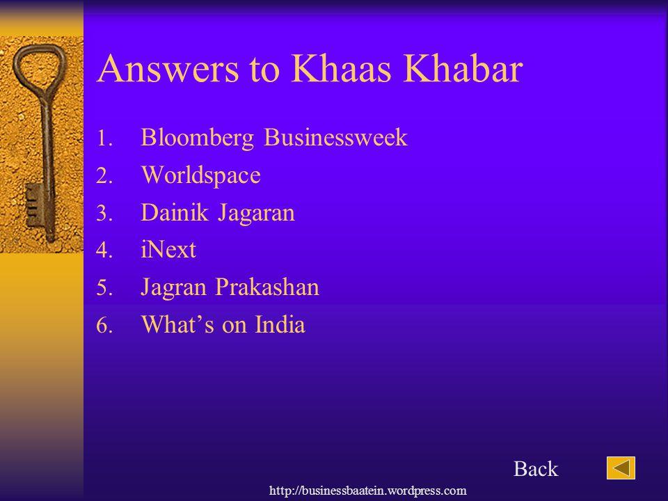 Answers to Khaas Khabar