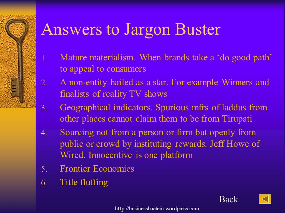 Answers to Jargon Buster