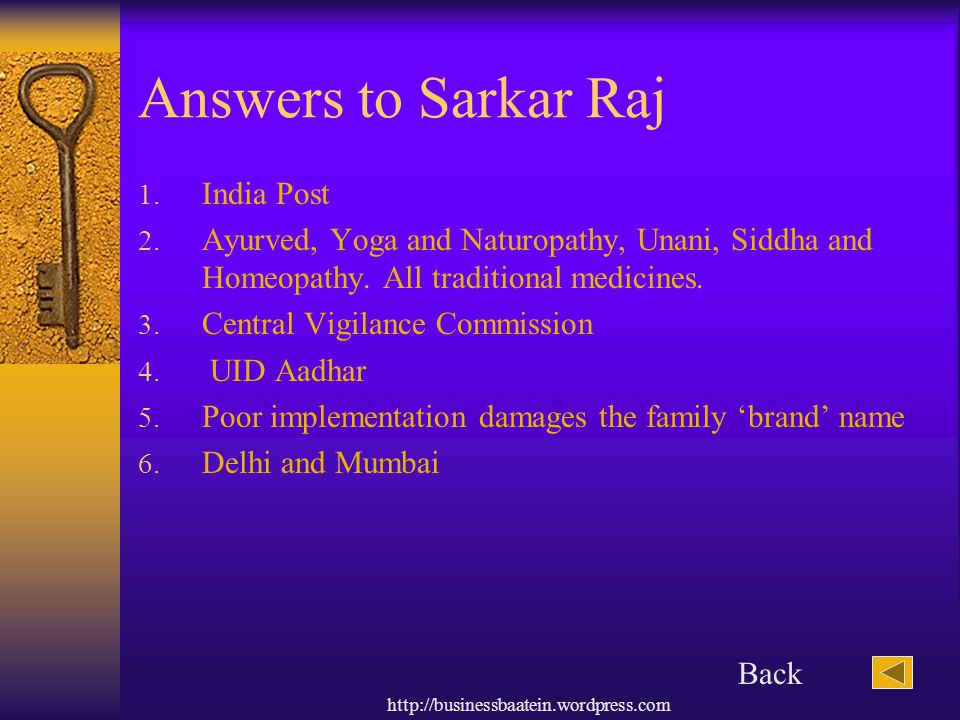 Answers to Sarkar Raj India Post