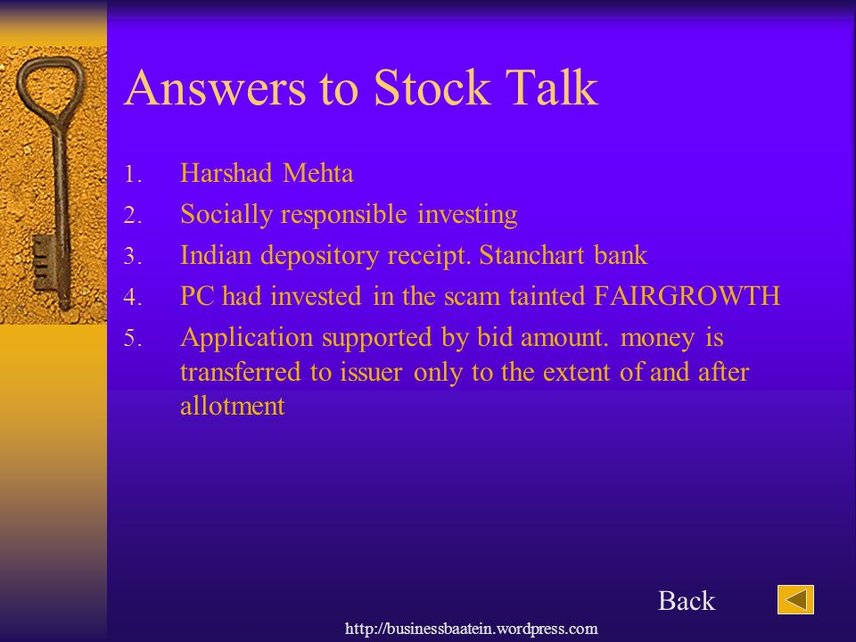 Answers to Stock Talk Harshad Mehta Socially responsible investing