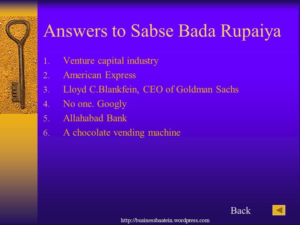 Answers to Sabse Bada Rupaiya