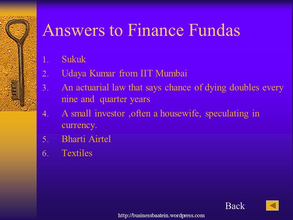 Answers to Finance Fundas
