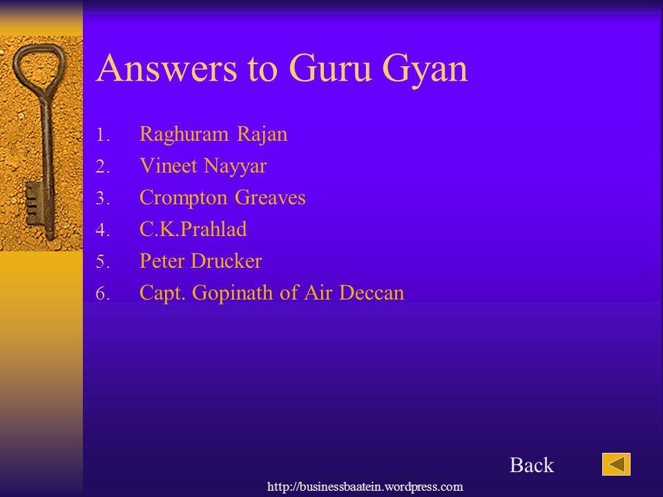 Answers to Guru Gyan Raghuram Rajan Vineet Nayyar Crompton Greaves