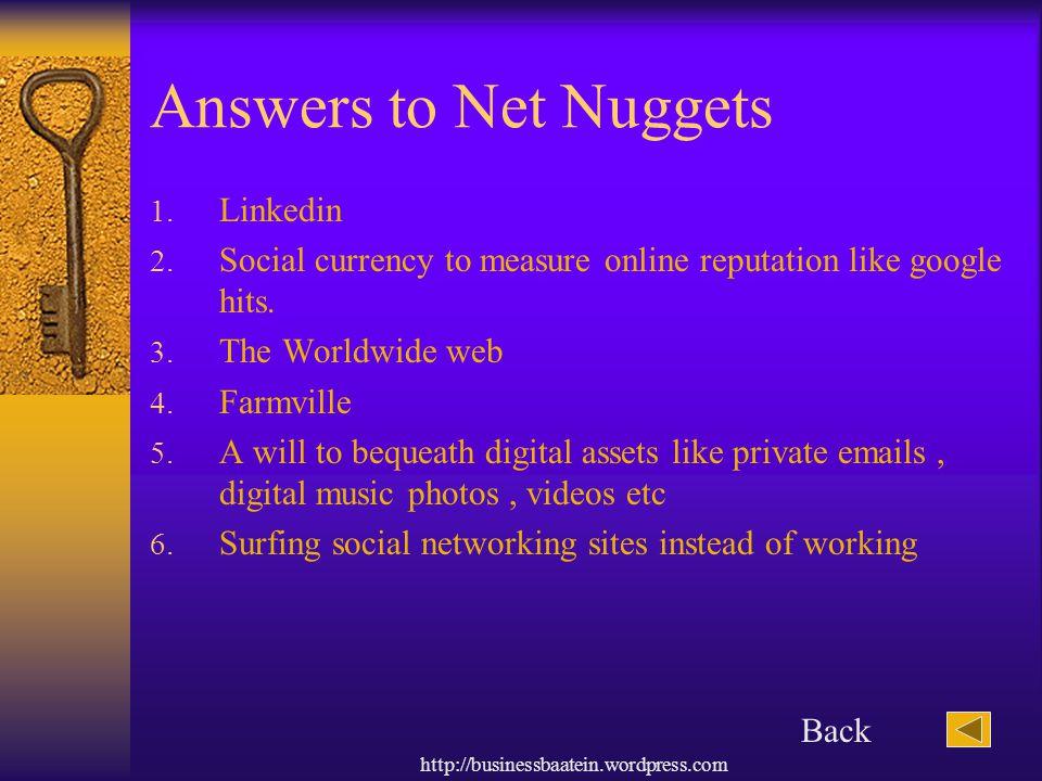 Answers to Net Nuggets Linkedin