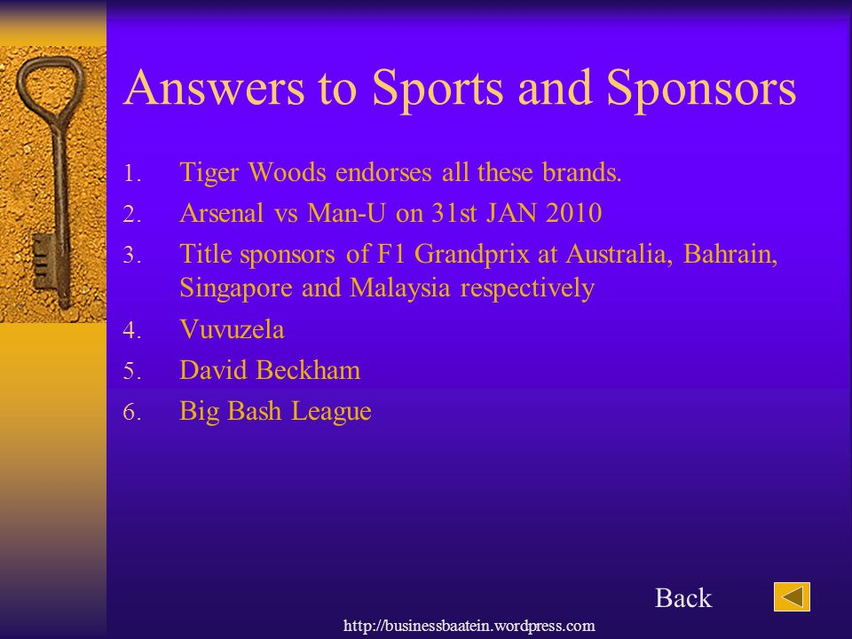 Answers to Sports and Sponsors