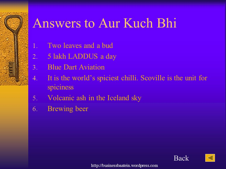 Answers to Aur Kuch Bhi Two leaves and a bud 5 lakh LADDUS a day