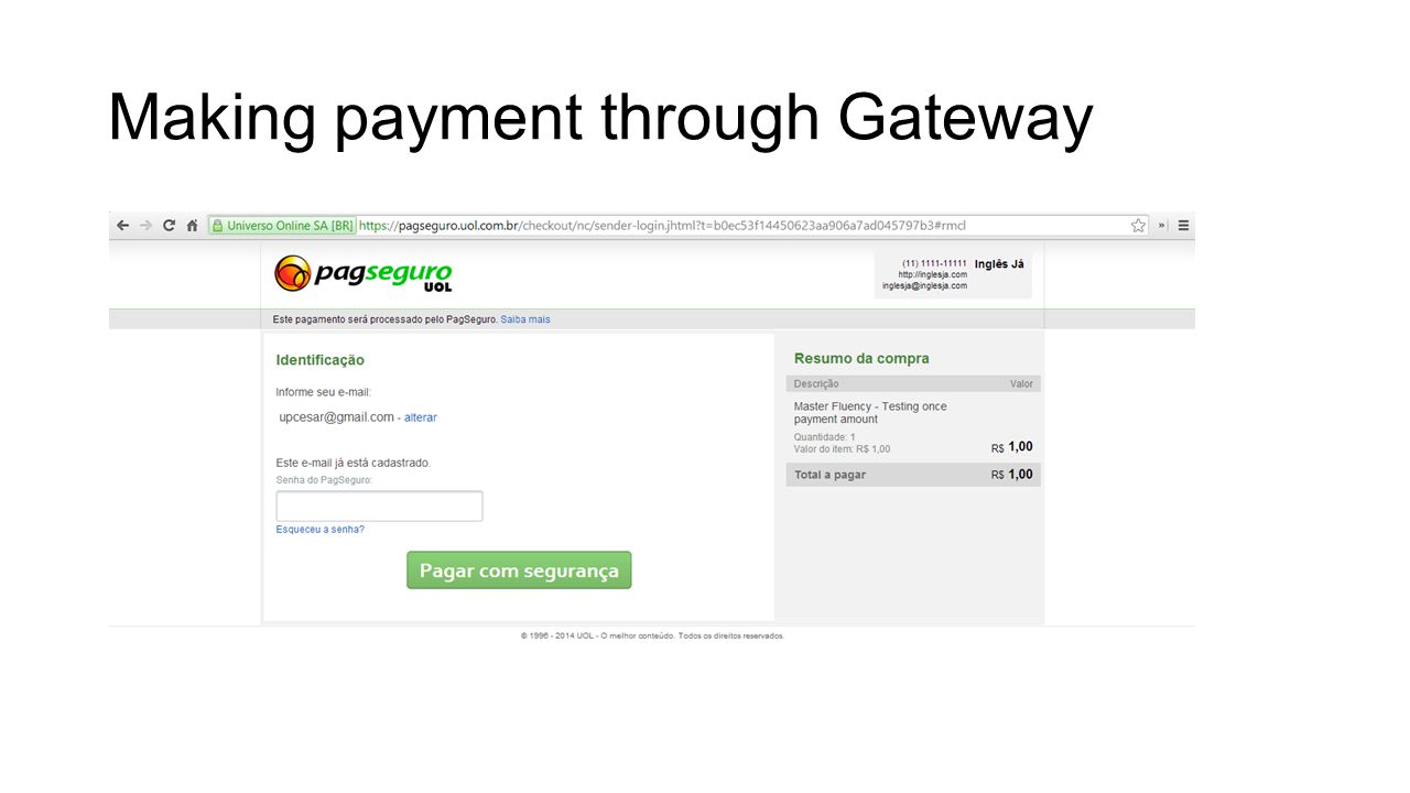 Making payment through Gateway