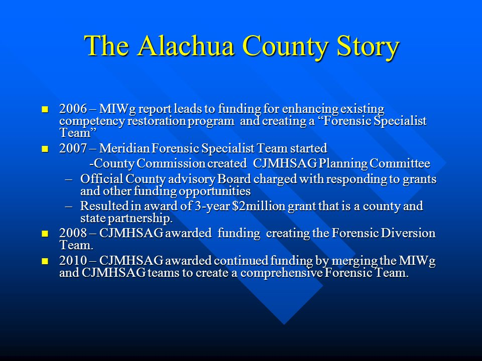 The Alachua County Story