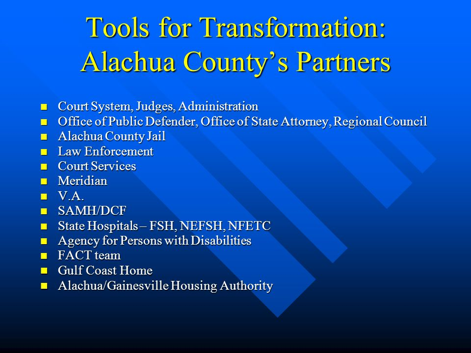 Tools for Transformation: Alachua County's Partners