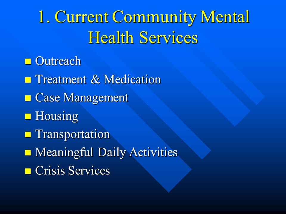 1. Current Community Mental Health Services