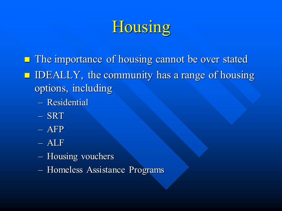 Housing The importance of housing cannot be over stated