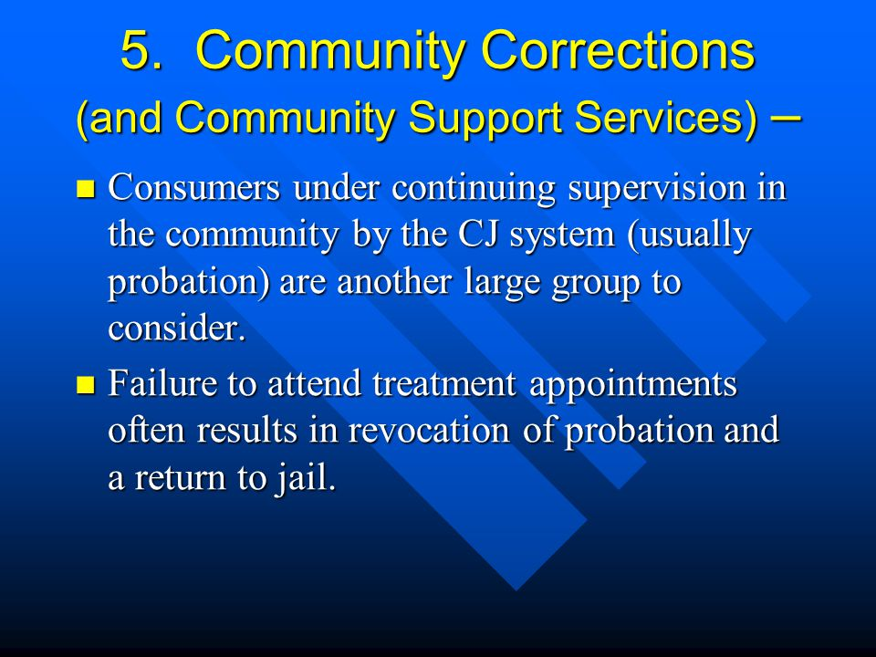 5. Community Corrections (and Community Support Services) –