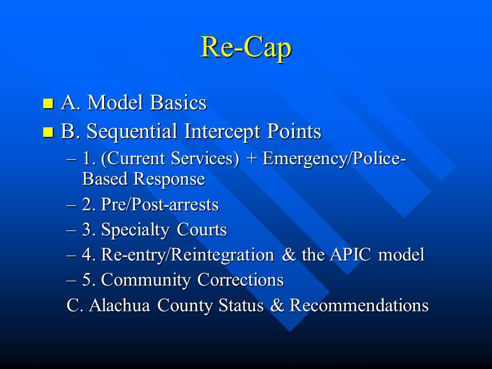 Re-Cap A. Model Basics B. Sequential Intercept Points