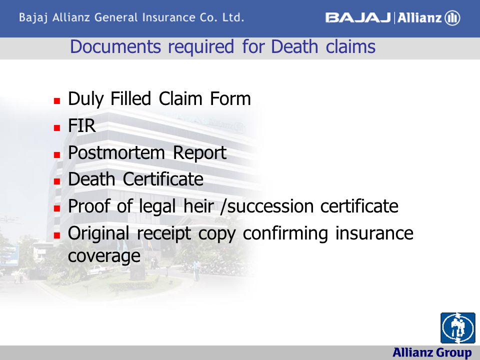 Documents required for Death claims