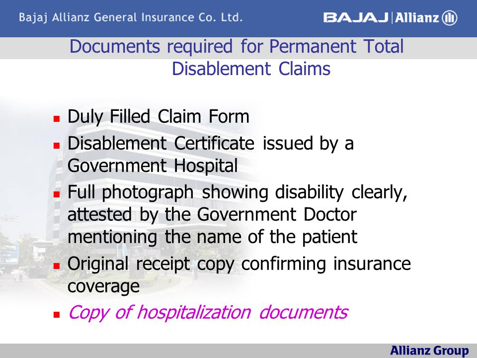 Documents required for Permanent Total Disablement Claims