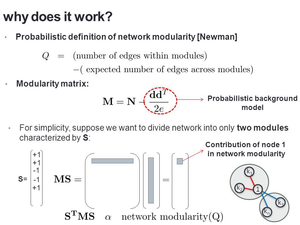 why does it work Linear Algebra: Network modularity is maximized if S is parallel to the largest eigenvector of M.