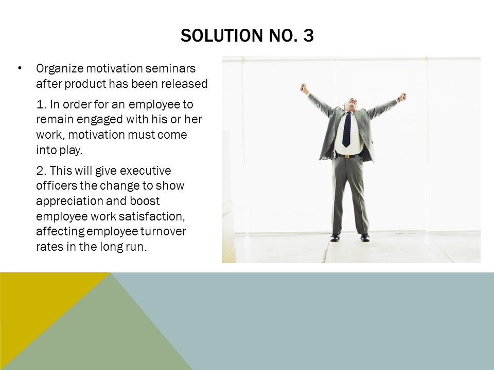 Solution no. 3 Organize motivation seminars after product has been released.