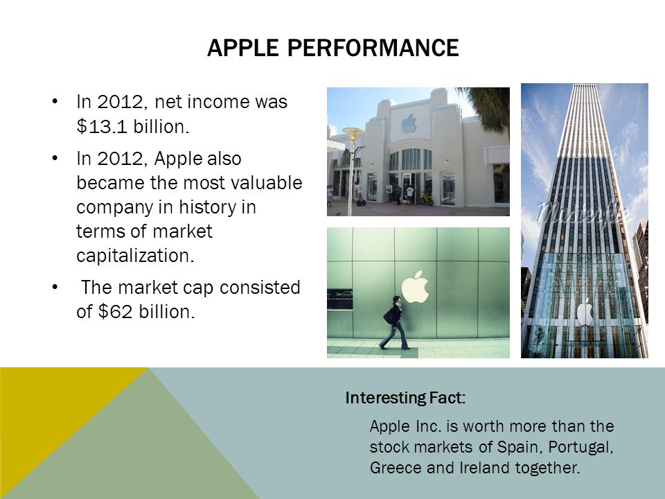 Apple performance In 2012, net income was $13.1 billion.