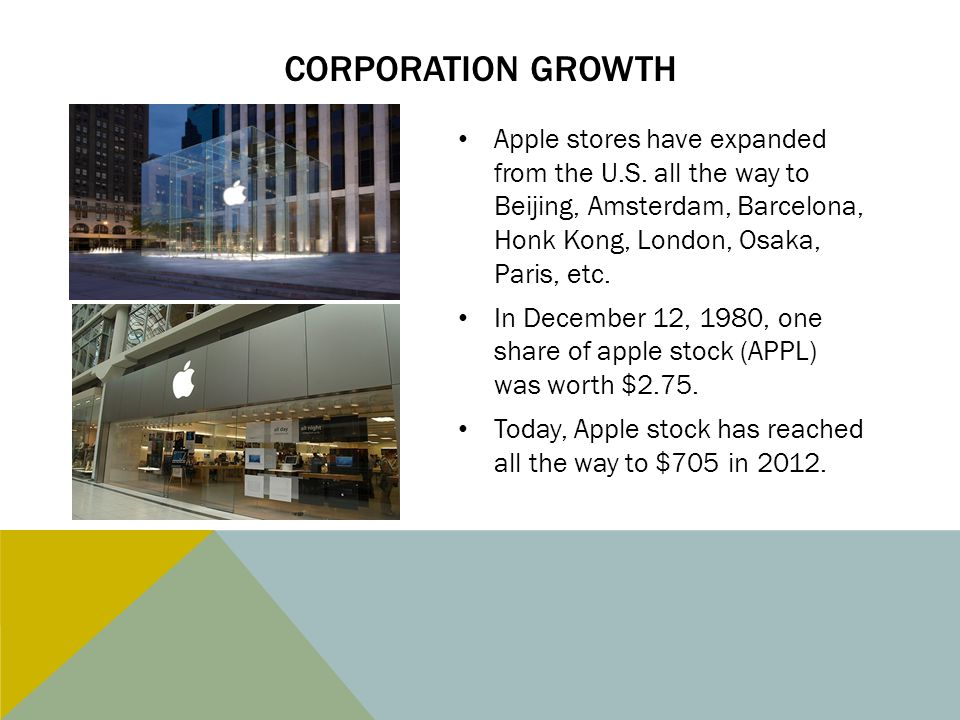 Corporation Growth Apple stores have expanded from the U.S. all the way to Beijing, Amsterdam, Barcelona, Honk Kong, London, Osaka, Paris, etc.