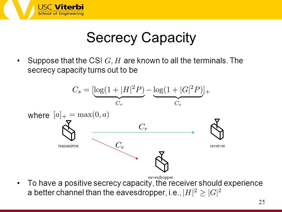 Secrecy Capacity Suppose that the CSI are known to all the terminals. The secrecy capacity turns out to be.