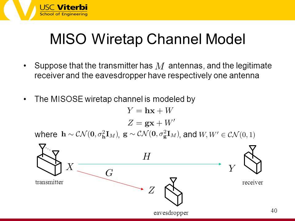 MISO Wiretap Channel Model