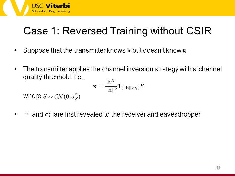 Case 1: Reversed Training without CSIR